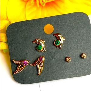 ✨3pairs of stud earrings anti allergy gold tone